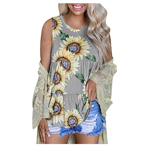 ANJUNIE Women Sunflower Print Camisole Mini Dress Sleeveless Blouse Shirt Casual O-Neck Summer Tank Tops(Gray,XL)
