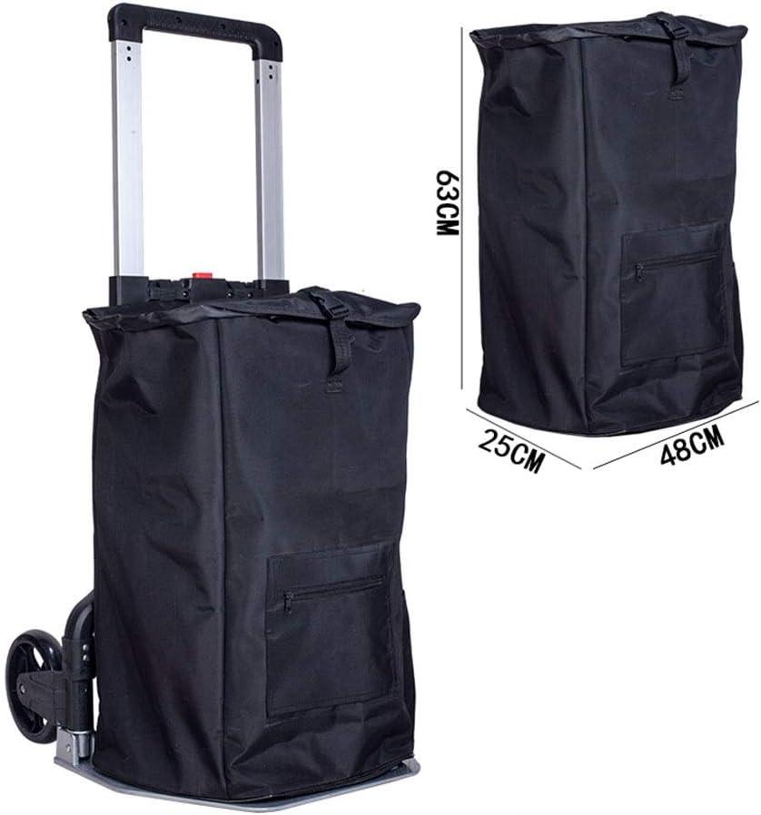 Color : Black, Size : 4853108cm Tools Trolley Household Handling Shopping Cart Folding Portable Trolley Aluminum Trolley Handling Load King Trailer Folding Convenient Load 160KG