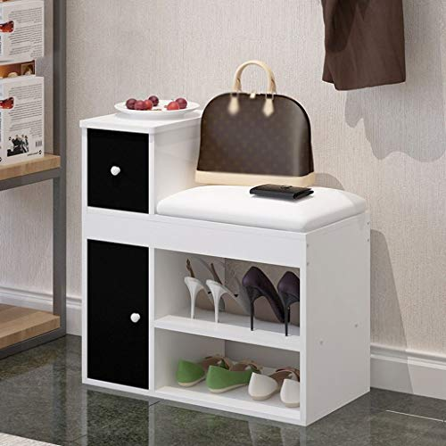Shoe Storage Bench 2-Tier with Drawer Wood Storage Shelf Cabinet Shoe Bench Seat Storage Organiser for Hallway Entryway Living Room 60X30X62CM (Color : White+White, Size : 60cm)