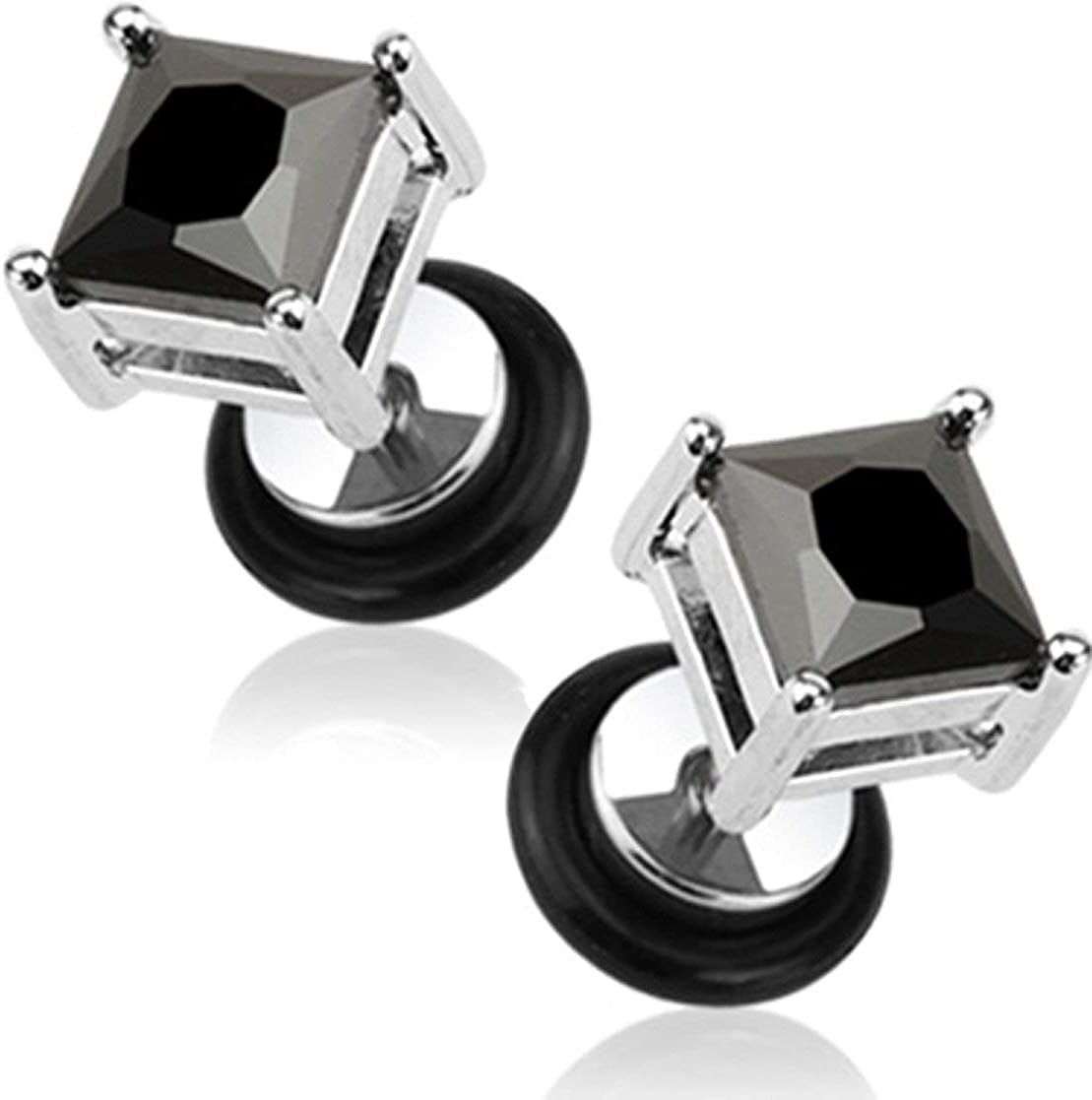 Forbidden Body Jewelry 16g Surgical Steel Square Crystal Dia Cut Cheater Plug Earrings (Choose CZ Color)