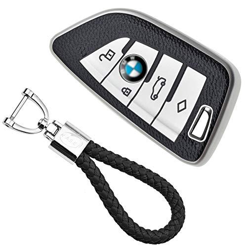 KASER Cover Guscio Chiave Silicone compatibile per BMW Serie 1 3 5 X1 X3 X4 X5 X6 Portachiavi TPU Effetto Pelle Protezione Telecomando Auto (argento)