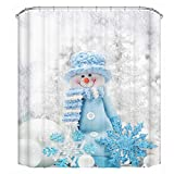 CHICHIC 71x71 Inch Christmas Shower Curtain, Holiday Festive Xmas Thickening Waterproof Bathroom Decorations Window Curtain Decor Set with Hooks, Snowman