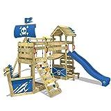 WICKEY Aire de jeux en bois GhostFlyer Tour d´escalade pour jardin équipement de jeux balançoire, mur d´escalade et bac à sable, toboggan bleu