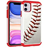 Defender Case for iPhone 11 - Baseball Sports Pattern Shock-Absorption Hard PC and Inner Silicone Hybrid Dual Layer Armor Defender Protective Case Cover for Apple iPhone 11 (2019)