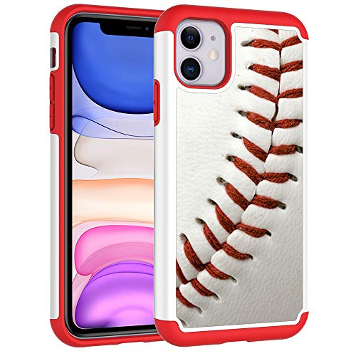 Sunshine - Tech Defender Case for iPhone 11 - Baseball Sports Pattern Shock-Absorption Hard PC and Inner Silicone Hybrid Dual Layer Armor Defender Protective Case Cover for Apple iPhone 11 (2019)