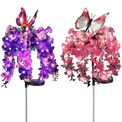 Solarleuchte Garten, DINOWIN 2 Stück Solar Blumen Garten Lampen Wasserdicht Landschaft Garten Pfahl Lichter mit Farbwechsel LED Außen Dekoration Lichter (Schmetterling)