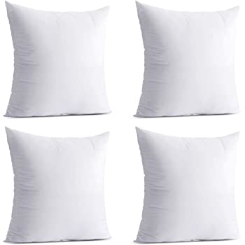 Calibrate Timing Throw Pillow Inserts, 4 Packs Hypoallergenic Square Form Cushion Stuffer, Decorative Pillows Couch Sham Fill 18 x 18 inches