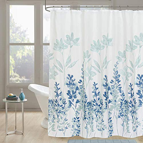 Gibelle Navy Blue and Teal Floral Shower Curtain Set with Hooks, Abstract Light Blue and White Plant Leaves Nature Ombre Decorative Bathroom Fabric for Shower Curtain Liner, Machine Washable, 72X72
