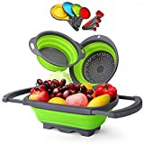 Glotoch Collapsible Colanders 11pc Silicone Set, Includes 1pc 6 qt. Over the Sink Strainer, 2pc 4 qt. Strainers, and, 8 pc Measuring Cups and Spoons Set, BPA Free, Green