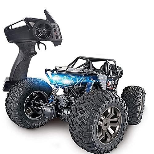 ADSVMEL Bigfoot Coche de Control Remoto con luz LED, Control de Radio de 2,4 GHz, 4WD de Alta Velocidad 40 km/h Todo Terreno Buggy electrónico Truggy Crawler Stunt Car Niño Adultos Negro