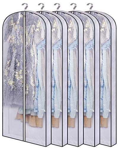 SLEEPING LAMB 60   Hanging Garment Bags for Closet Storage Gusseted Clear Dress Bag for Clothes, Gowns, Coats, Suits, 5 Packs