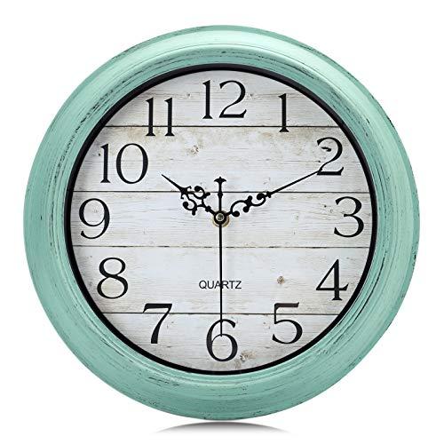 Lafocuse Reloj de Pared Turquesa Verde Silencioso Vintage Retro 30cm Reloj de Cuarzo sin Tic TAC Rustico Grano de Madera para Cocina Salon Dormitorio