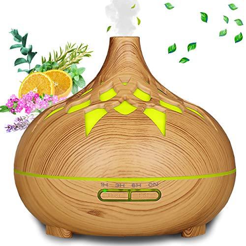 Top Diffuseur d'huiles essentielles, Humidificateur d'air, Veilleuse - 7 LED| Arrêt Automatique Brume fraiche d'arome – décoration maison/salon - 500ML- Désodorisant- Diffuseur parfum- silencieux