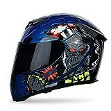 Casco Crash Caschi Integrali Moto con Doppia Lente Regolabile Cool per Sport all'Aria Aperta Unisex 55-64 Cm(Color:King Kong,Size:L58cm-60cm)