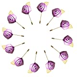 WeddingBobDIY 12Pieces/lot Groom Boutonniere Wedding Silk Rose(3.5cm) Flowers Accessories Prom Pin Man Suit Decoration Light Purple