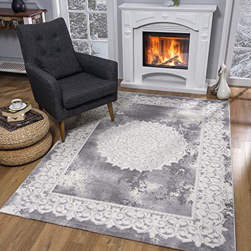 SANAT Teppiche für Wohnzimmer - Teppich Grau, Kurzflor Orientteppich, Öko-Tex 100 Zertifiziert, Größe: 80x150 cm