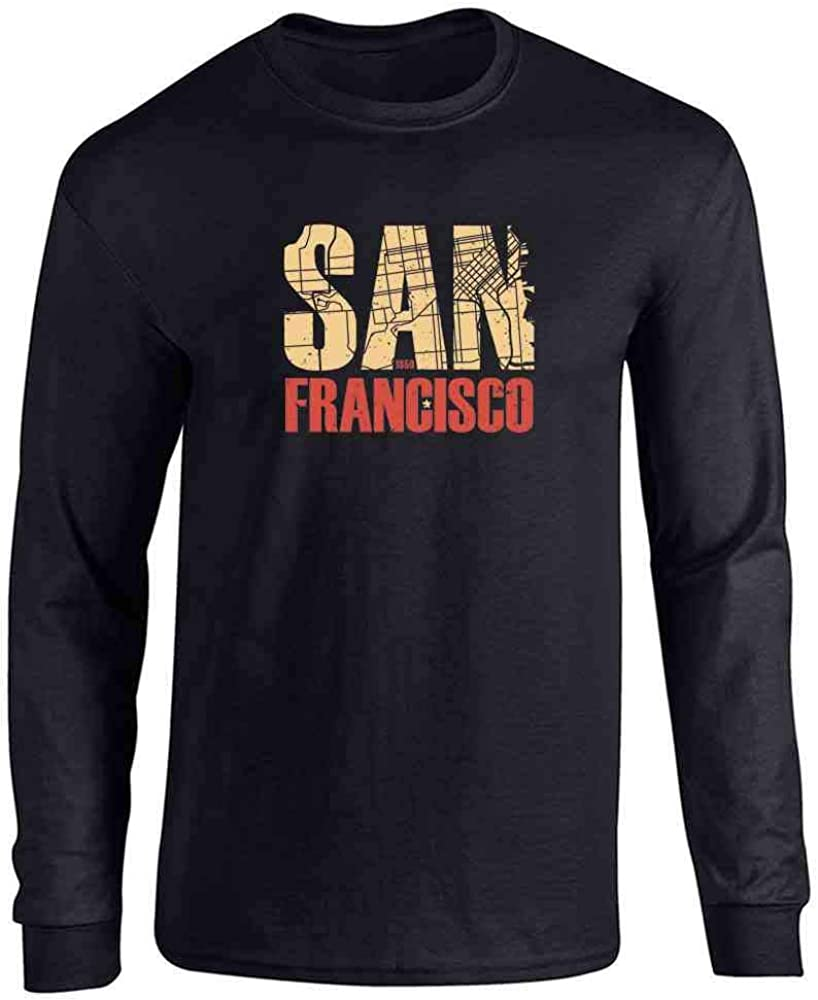 Pop Threads California State Flag Republic Los Angeles Bear Full Long Sleeve Tee T-Shirt