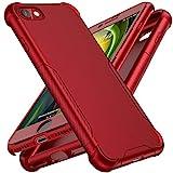 ORETECH Funda Silicona Carcasa Compatible con iPhone 7/8/SE 2020, con [2X Protector de Pantalla de Vidrio Cristal Templado] 360 Anti-Arañazos Rubber TPU Hard PC Caso para iPhone 7/8/SE 2020 4,7'-Rojo