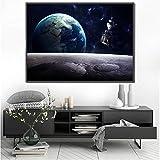 YuanMinglu Cartel de la Luna nórdica Sistema Solar Tierra Espacio Exterior Pintura Mural Sala de Estar decoración Dormitorio Impresiones Modernas sin Marco 50x75 cm