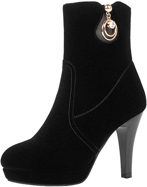 Gedigits Women's Sexy Rhinestone Pendant Stiletto High Heel Platform Ankle Booties Faux Suede Side Zipper Short Boots Black 5 M US