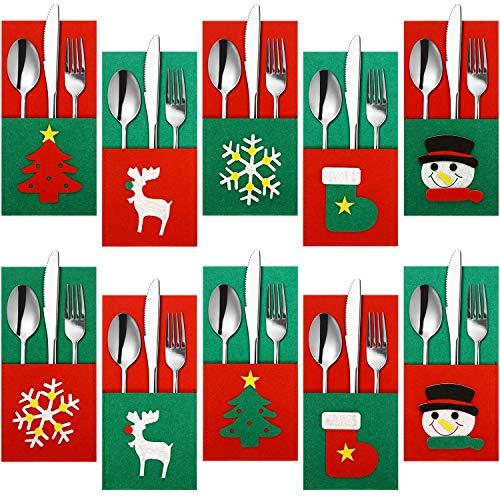 MIMORE - Juego de 10 fundas de Navidad para cubiertos de mesa, cubiertos y cubiertos de fieltro, muñeco de nieve, reno, cuchillo, tenedor, etc.