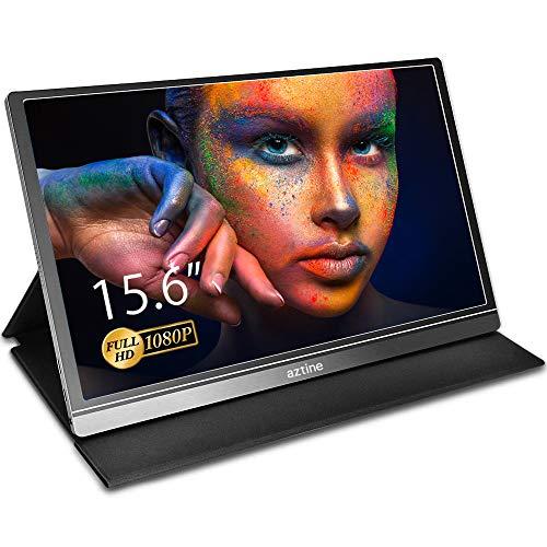 Aztine Monitor portátil de 15,6 pulgadas, 1920 x 1080 píxeles full HD IPS pantalla con HDMI para ordenador portátil, PC, MacBook Pro, Xbox, PS4, teléfono con Android, funcionalidad completa tipo C