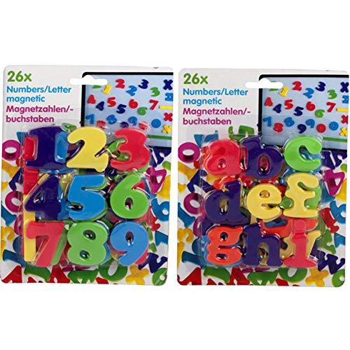 Eddy Toys 52er Set Bunte Magnete Zahlen und Buchstaben ABC 123 Magnet Memo Kinder Lernen Hilfe Tafel