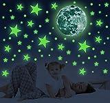 Adesivi da Parete Fluorescenti, 556 pezzi Stickers di Luna Stelle e Punti, Autoadesivo Lum...