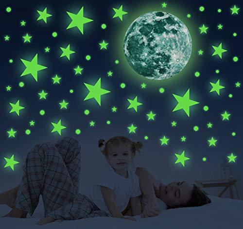 Adesivi da Parete Fluorescenti, 556 pezzi Stickers di Luna Stelle e Punti, Autoadesivo Luminoso Decorazione per Soggiorno Cameretta dei Bambini