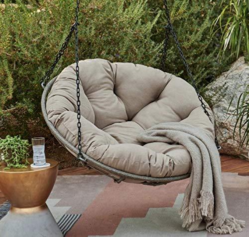 Beige Rattan Wicker Hanging Papasan Swing Chair with Cushion