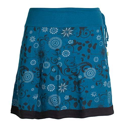 Vishes - Alternative Bekleidung - Damen Lagen-Look Blumen-Rock mit Mandalas und Tribals Bedruckt türkis 36