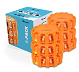 Boundery LED Road Flares Emergency Light Set - Roadside Safety Discs for Your Car Emergency Kit - 6-Pack Safety Discs to Hang or Stick to Vehicles & Boats