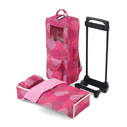 """Emily Rose 18 Inch Doll Accessories   Travel Doll Closet Case / Carrier with Heavy Duty Trolley and Removable Doll Bed with Bedding   Fits 18"""" American Girl Dolls"""