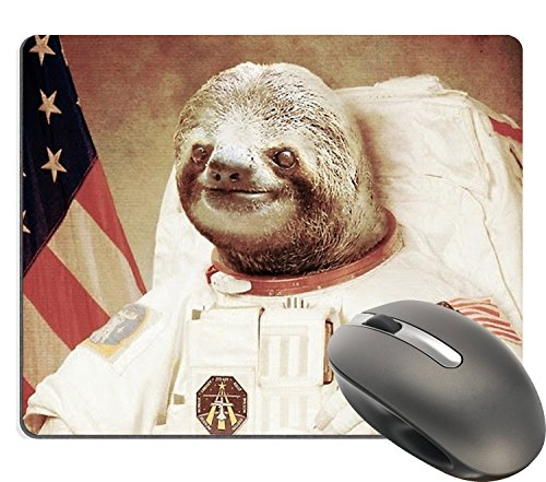 Supwek Funny Cute Sloth Dress As a Astronaut Personality Mouse Pad Unique Design Mouse Pads Large Mat