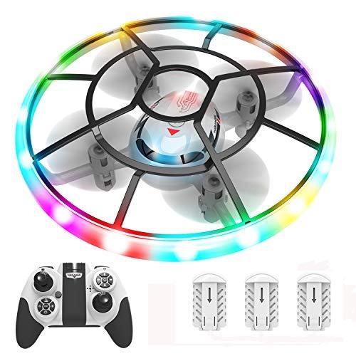 Q7 Mini Drohne Drone mit Höhehalten und Headless Modus,Quadrocopter mit Bunte Nachtlicht,3 Akkus und Propeller voll zu schützen,Spielzeug Drohne für Kinder und Anfänger
