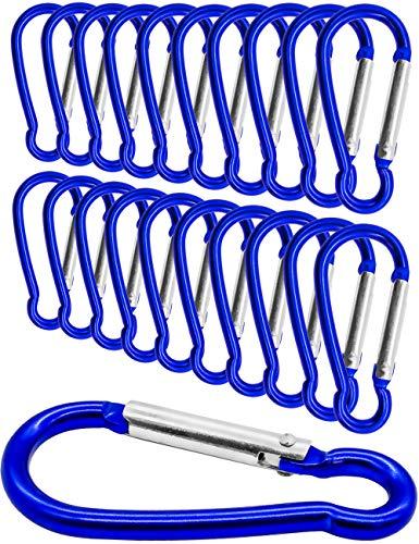 Outdoor Saxx® - Lot de 20 mini mousquetons en aluminium, mousquetons en S, mousquetons pour fixation d'équipement au sac à dos, ceinture, tente, canoë, 5,8 cm, lot de 20, bleu