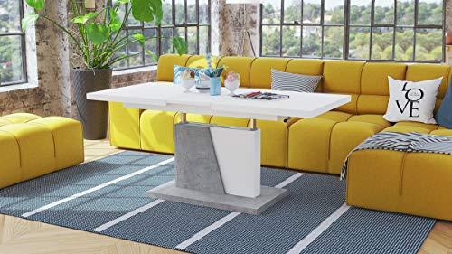 Design Couchtisch Tisch Grand Noir Weiß matt/Beton Betonoptik stufenlos höhenverstellbar ausziehbar 120 bis 180cm Esstisch