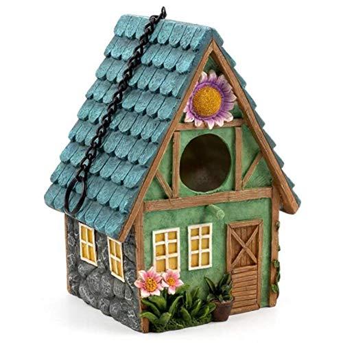 YMJJ Decorative Resin Bird House for Backyard/Garden/Porch, Hanging Birdhouse Pendant Ornament, Small Bird Nest