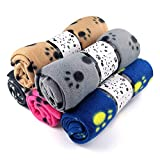 5 Pack Large Fleece Dog Cat Blanket, 40x 28 Inch Fluffy Puppy Blanket, Soft Pet Sleep Mat Bed Cover with Color Paw Printing for Home Using - Couch,Bed, Camping Mat, Car Seat