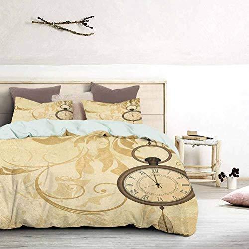 UNOSEKS LANZON - Juego de ropa de cama con diseño de fondo vintage Grungy con relojes de bolsillo en cadena, diseño retro romántico, impresión retro, juego de cama de lujo, fresco, ligero, tamaño king