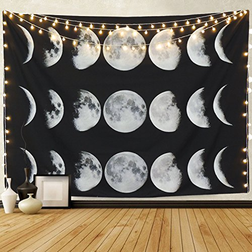 Martine Mall Tapestry Moon Phase Change Tapestry Wall Tapestry Wall Hanging Tapestries Moon Constellations Tapestry Indian Wall Decor (Moon Phase Change, 51.2