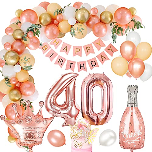 40 Globos Cumpleaños Decoracione para Mujeres, MMTX Látex Globos Oro Rosa Pancarta de Feliz Cumpleaños Foil Globos Número 40 para Adultos Niñas Decoración de Fiesta