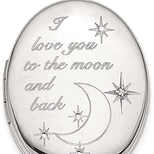 chaosong shop Colgante de plata de ley 925 de 20 mm de amor a la luna, colgante ovalado con colgante de fotos y medallón, con texto en inglés «Love to the Moon»