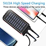 Solar Power Bank Portable Phone Charger 25000mAh【2020 Newest Solar Charger】Battery Pack Water-Resistant 3 Output Ports… 3