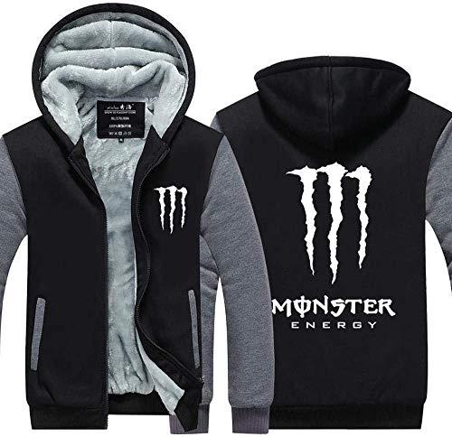 XTT Mens Hoodie Jacket Pull à Capuche pour Monster Energy Imprimé Casual Zip Casual Sweat-Shirt Teen Stitching Manches Longues - Cadeau De La Saint-Valentin A-XX-Large