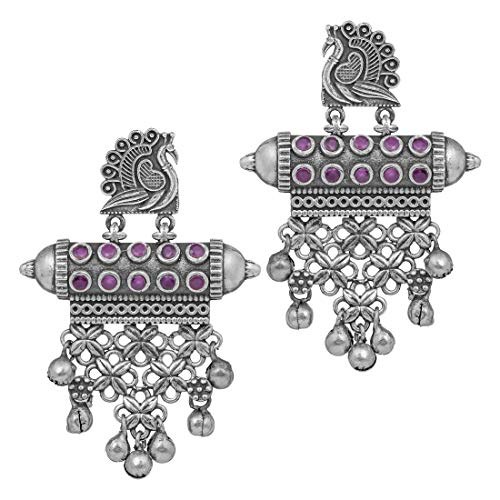 Aheli Vintage Indian Oxidized Faux Stone Studded Dangle Earrings Ethnic Fashion Temple Jewellery for Women Girls