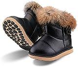 Botas de Nieve para Niños Niña Invierno Calentar Botines Impermeable PU Algodón Niños Botas Anti-Deslizante Zapatos para Bebé Negro 21