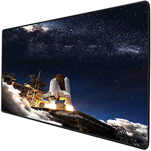 Mouse Pad Gaming Functional Galaxy Space Shuttle on Take Off Discovery Mission to Explore Galaxy Spaceship Solar Adventure Thick Waterproof Desktop Mouse Mat Multicolor Non-slip Rubber Base
