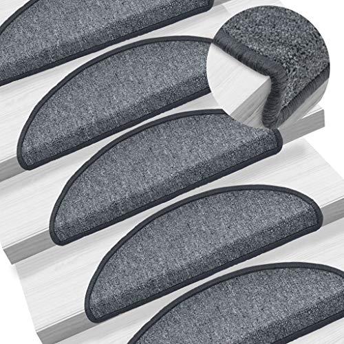 Festnight 15 STK Stufenmatten Dunkelgrau 65 x 24 x 4 cm | Ger?uschd?mpfend, rutschfest und Warm Treppenstufen Matten Set für Stufen, 100% PP, Getuftet, 375 g/m?