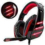 Beexcellent Gaming Headset for PS4 Xbox One PC, 3.5mm Stereo Over-Ear Headphone with Noise Reduction and Comfortable Earmuffs(Red)